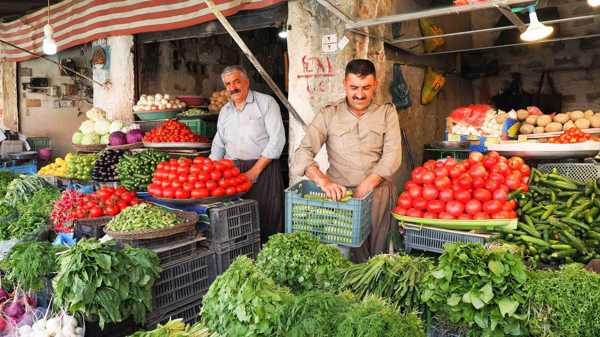 Storeholders in Halabja, in Iraqi Kurdistan.