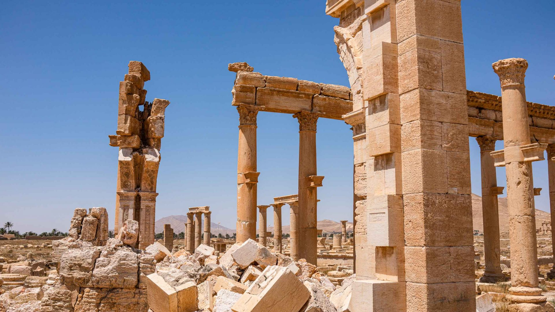 The remains of Palmyra's Monumental Arch, destroyed by IS.