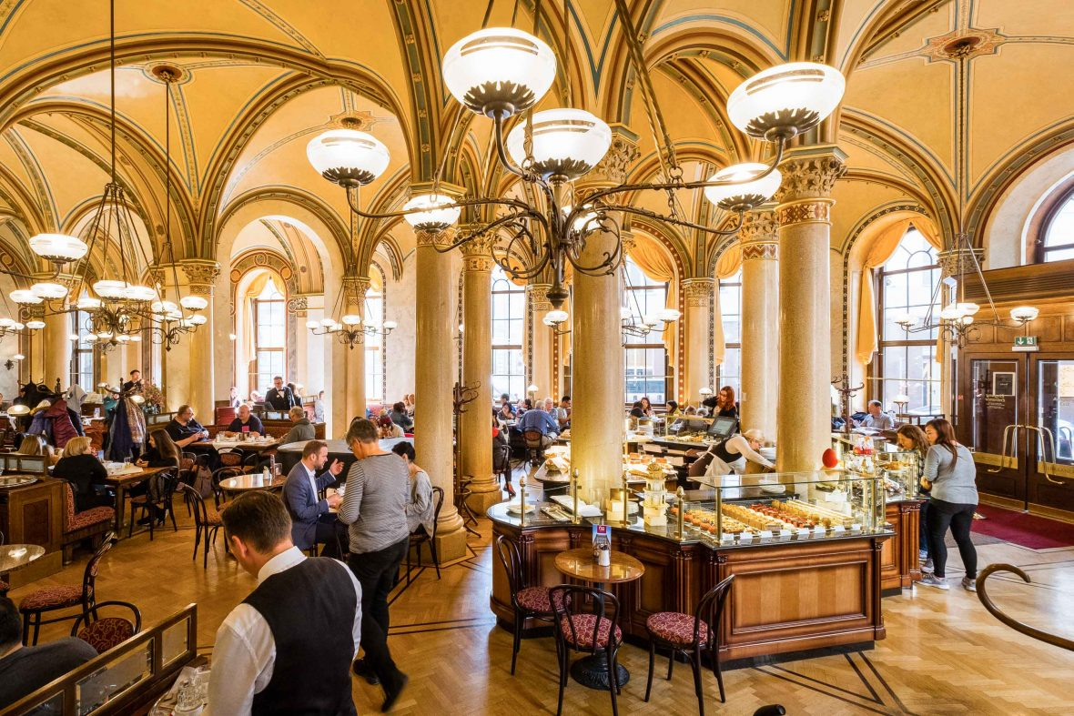 Cafe Central in Vienna where it's said that in one month in 1913 Freud, Trotsky, Stalin and Hitler all visited.