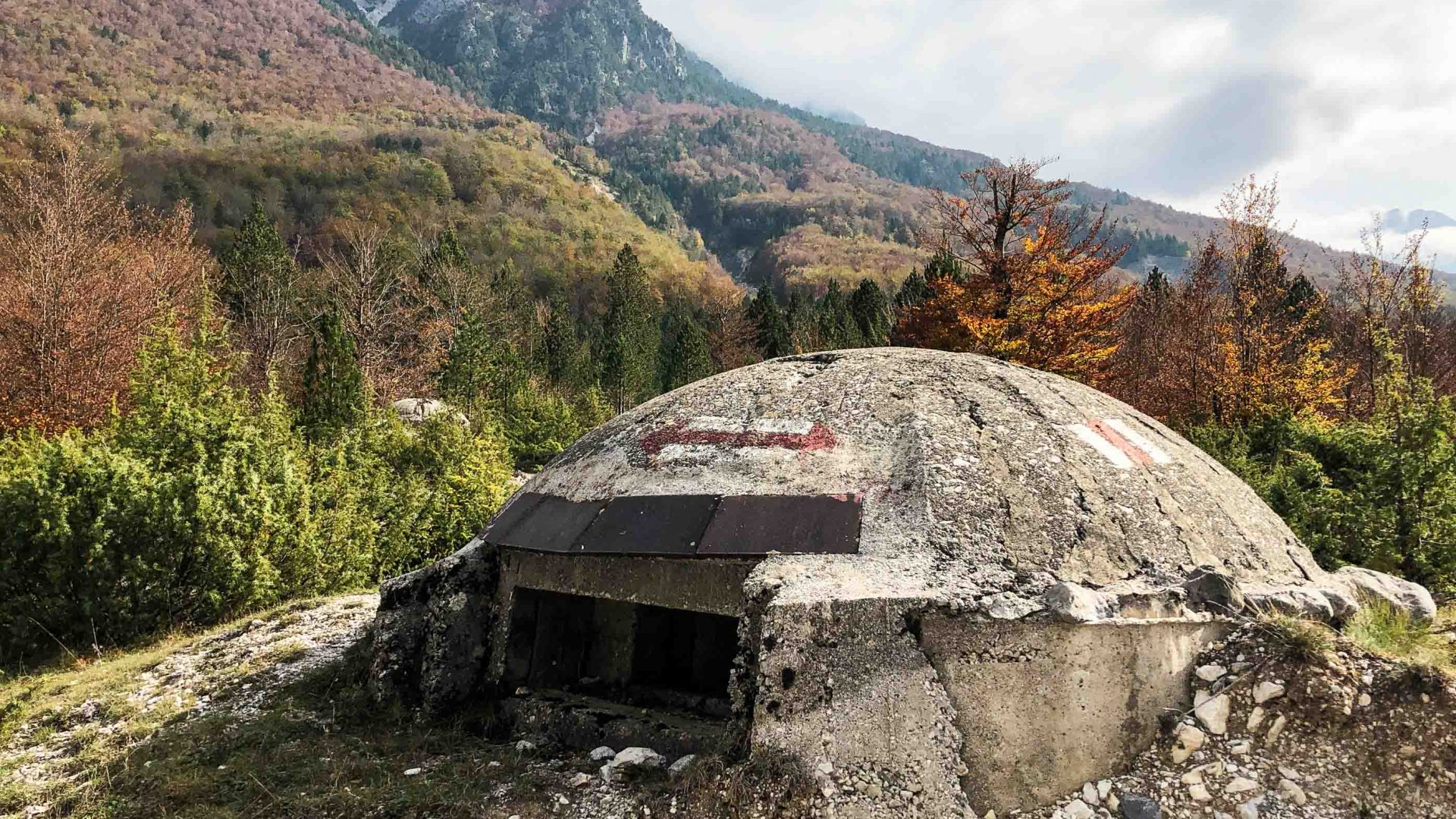 A bunker in Albania marks what used to be a militarized border with Montenegro.