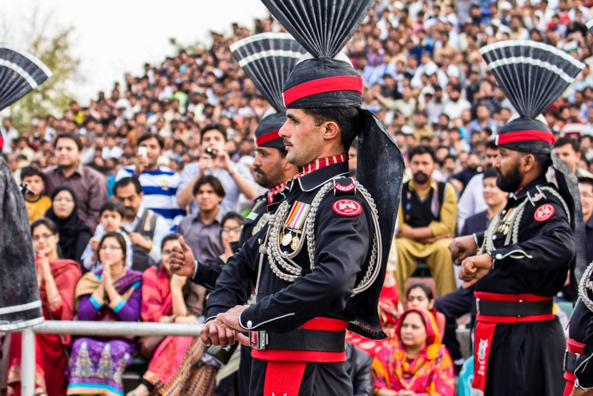 Pakistani soldiers during the Wagah (India-Pakistan) border closing ceremony.