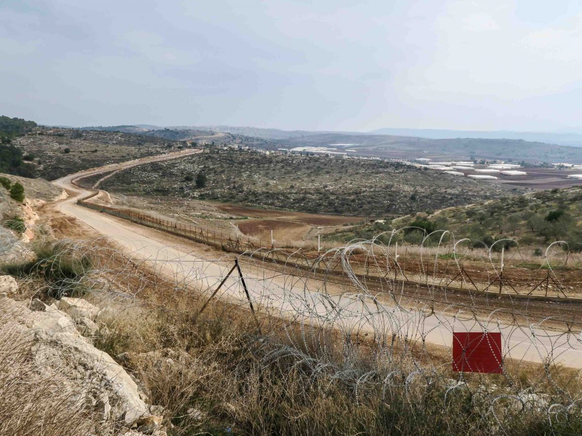 The border separation fence between Israel and Palestine.