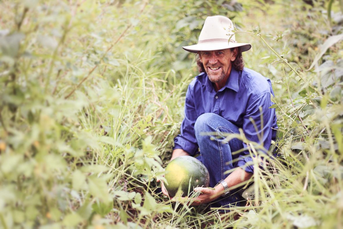 Geoff Lawton, a self-made agroforestry expert, proponent and facilitator, tends to his garden.