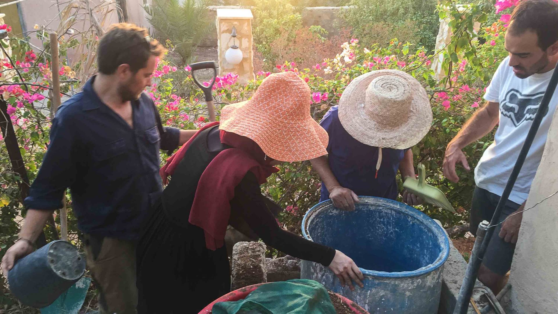 Interns at the Greening the Desert project in Jordan.