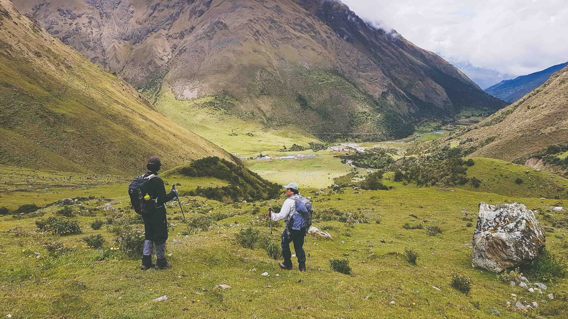Hikers on the Salkantay trail in Peru.