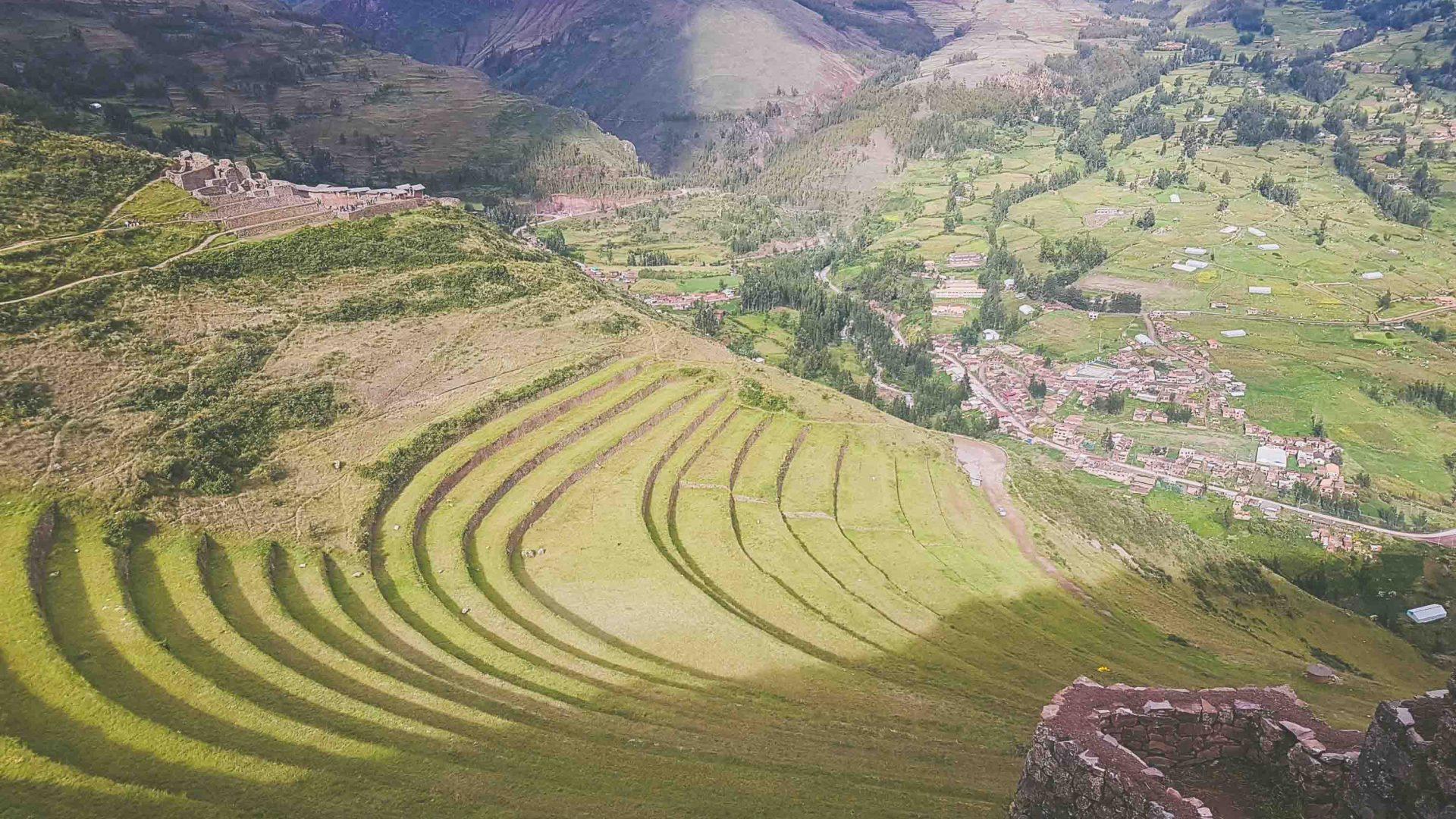 Terraced fields meet hikers during the Salkantay hike in Peru.