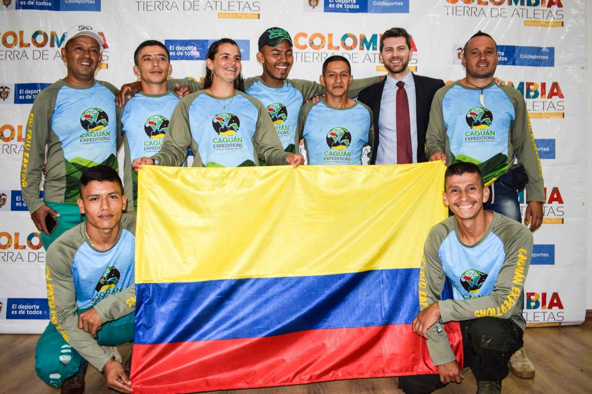 The Colombian river rafting guides with the UN's Mauricio Artiñano at their send-off to the World Rafting Championships.