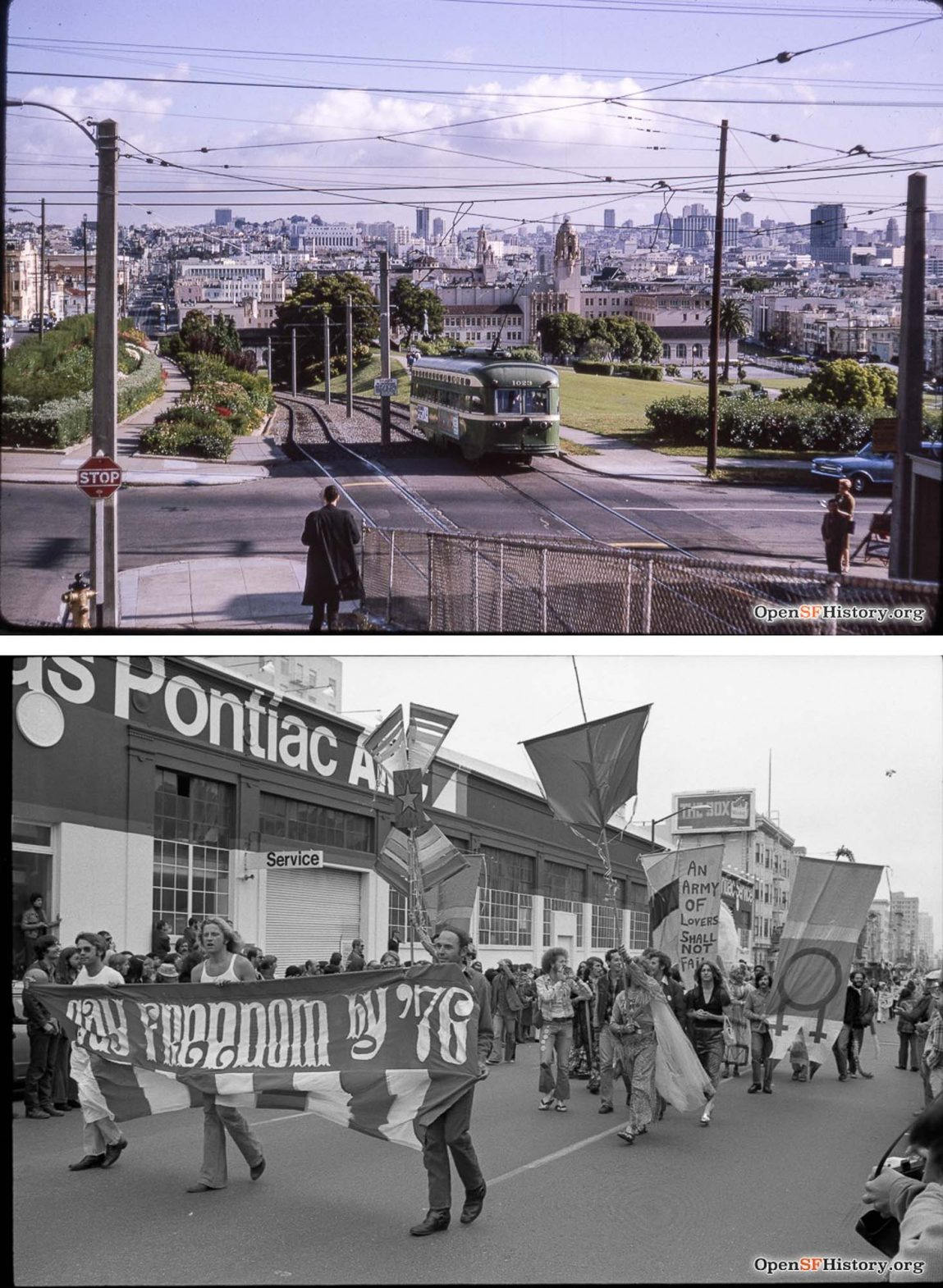 Top: The Mission of which Castro is a part, photographed in 1968. Bottom: The Gay Freedom March through the streets of Castro in 1974.