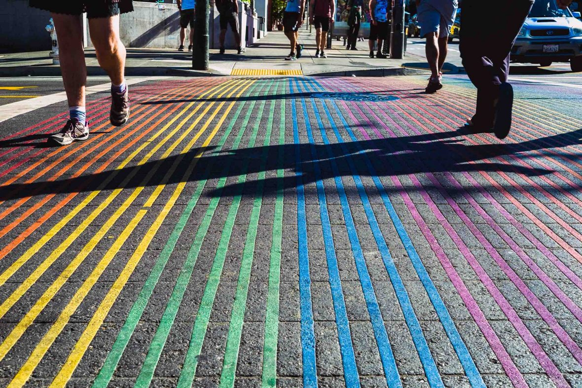 A well-known rainbow cross walk in 18th Street in Castro celebrates LGBT pride.