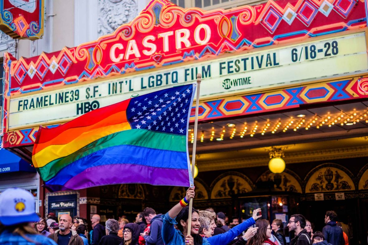 'Love wins' celebrations in Castro outside the landmark Castro Theater.