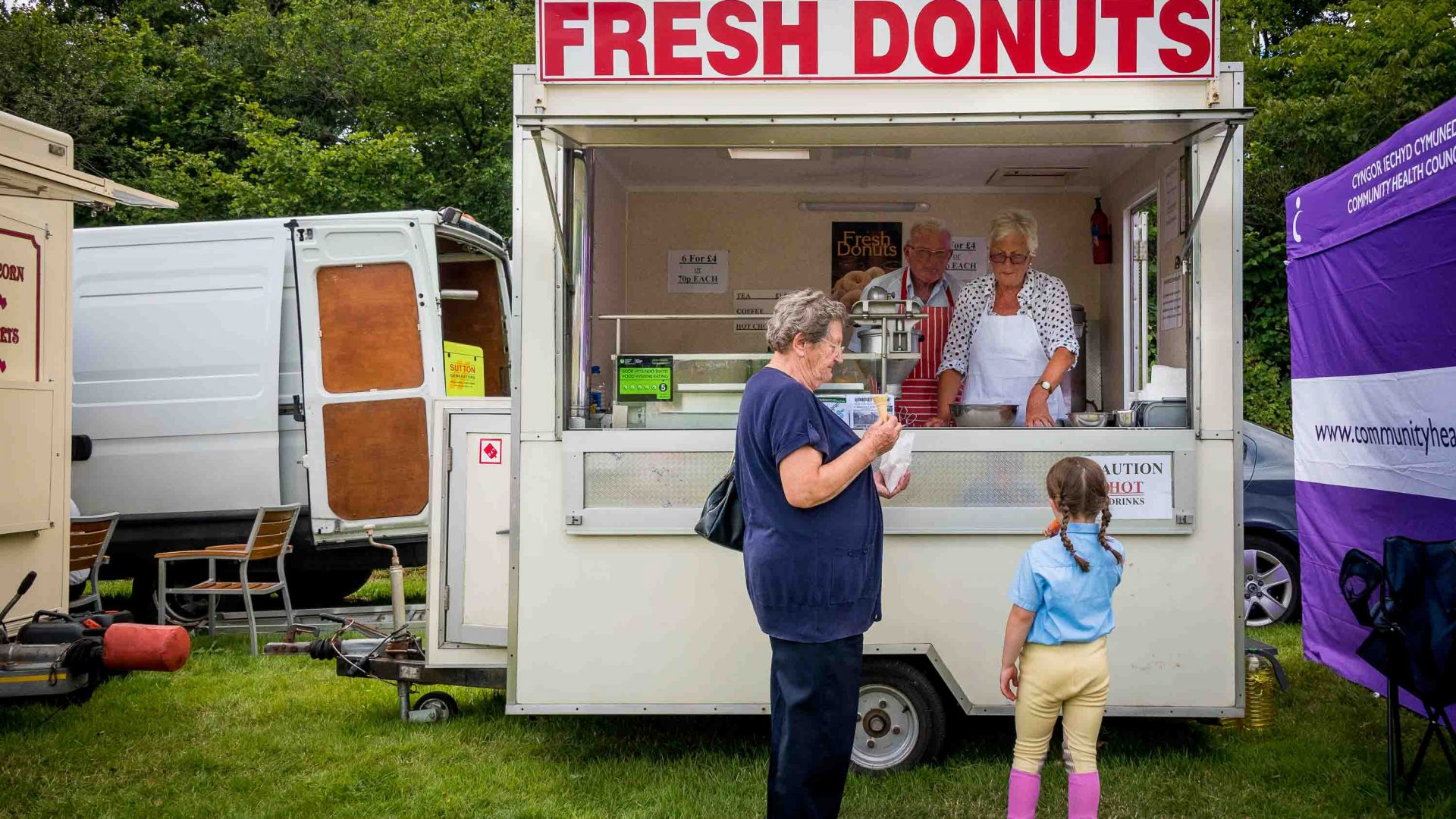 Fresh donuts for sale at the Llanthony Valley and District Show, Wales.
