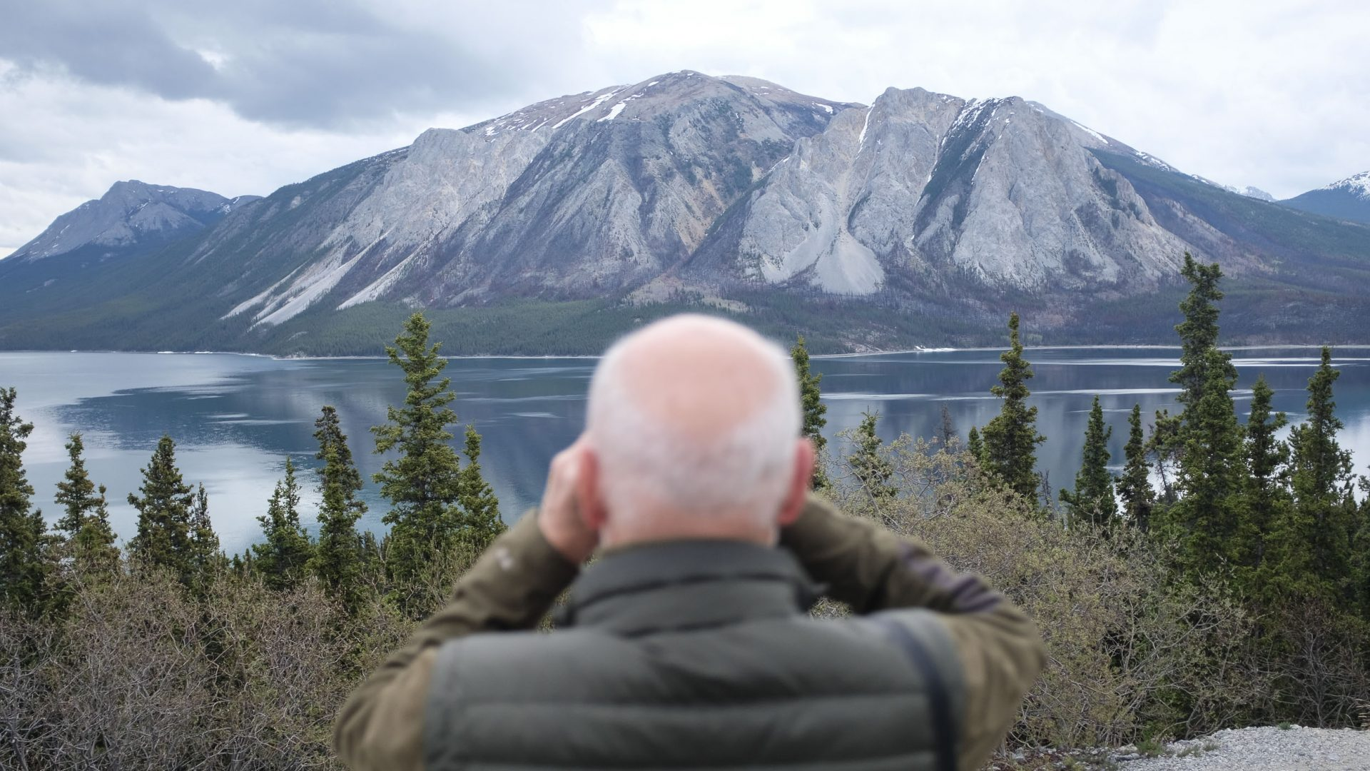 Chris looks out over Tagish Lake, Yukon.