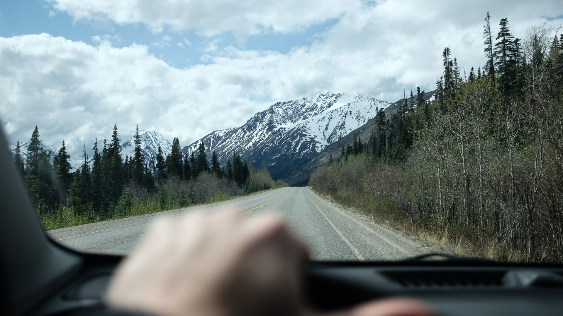 Driving out from Carcross in the Yukon, Canada.