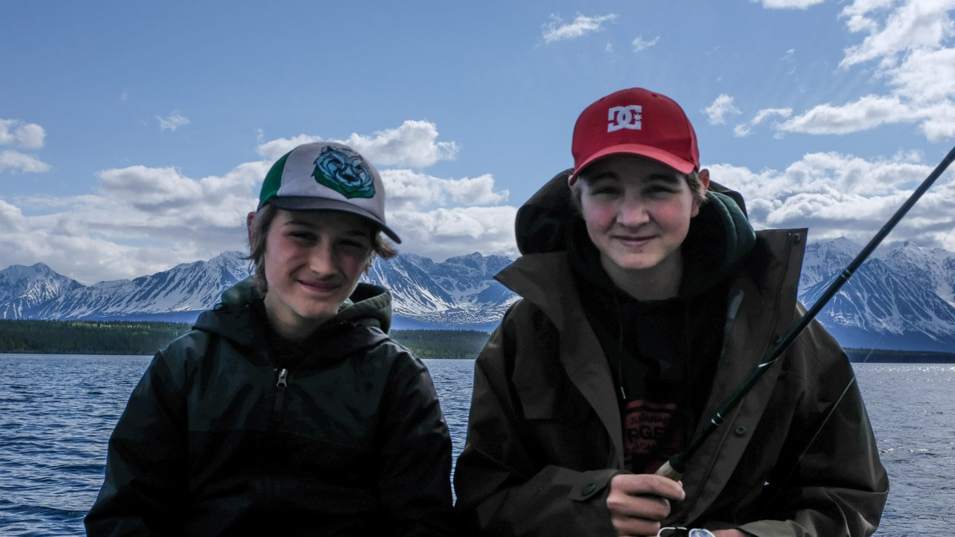 Sam and Arthur on Pine Lake, Yukon.