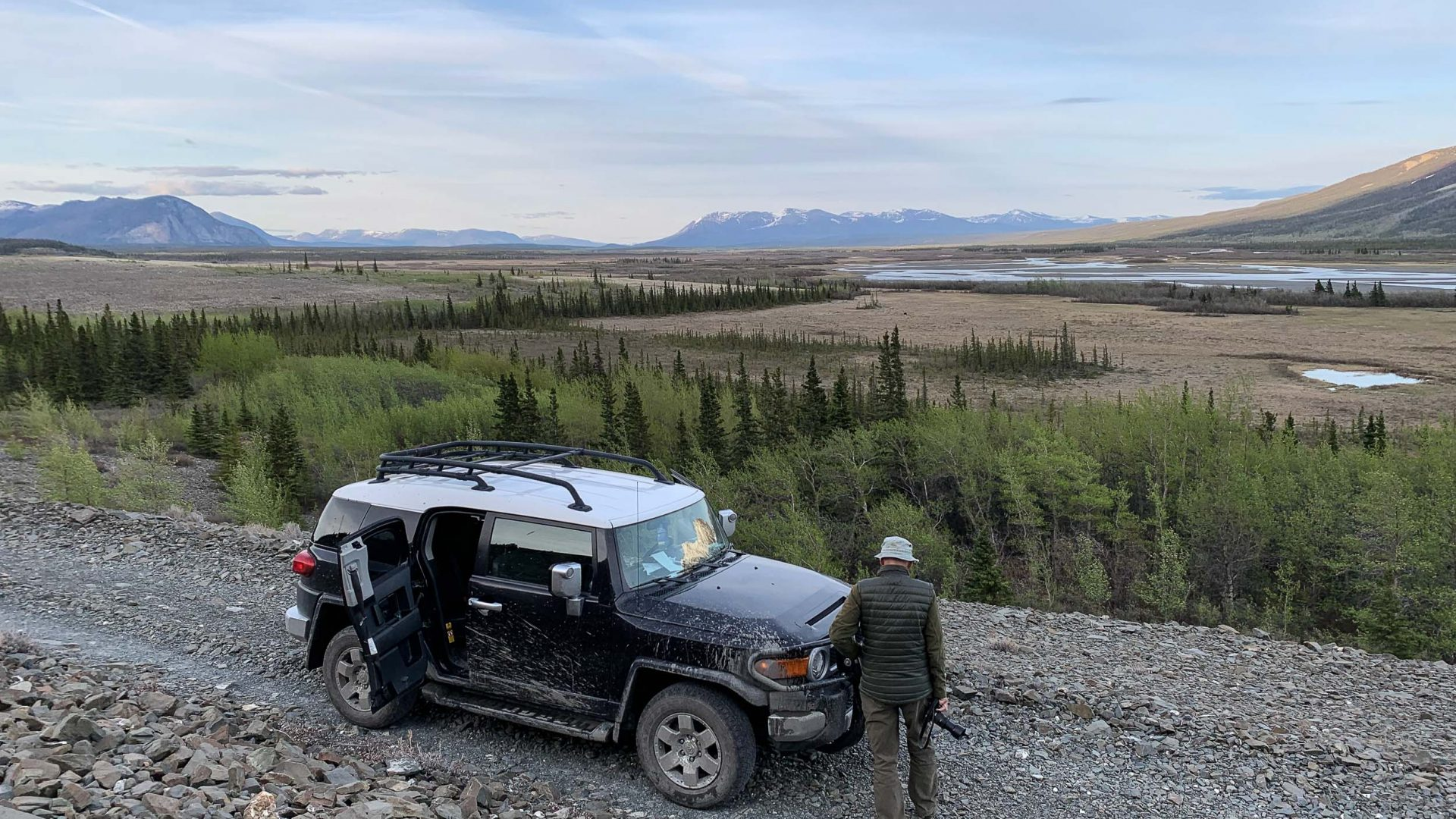 Looking for grizzly bears in Kluane National Park.