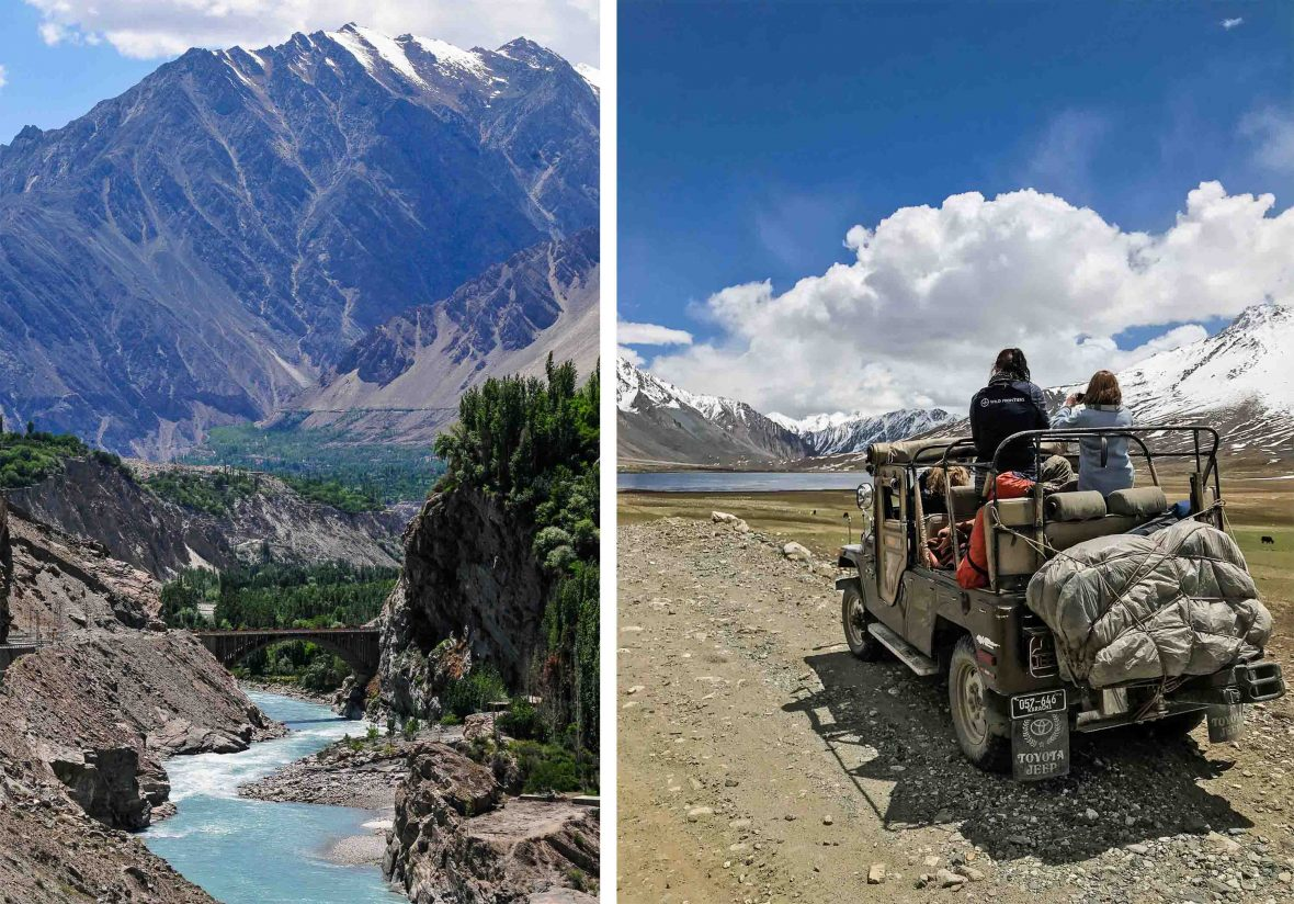 Left: A turquoise river runs through a valley in Pakistan; Right: Travelers make their way through Shandur Pass in Pakistan.