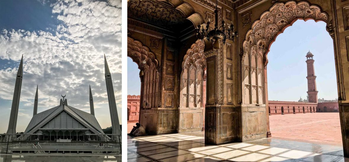 Left: Faisal Mosque; Right: Badshahi Mosque.
