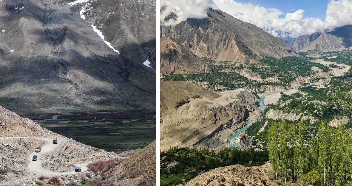 Left: Jeeps are dwarfed by the mountains; Right: Hunza Valley, Pakistan.
