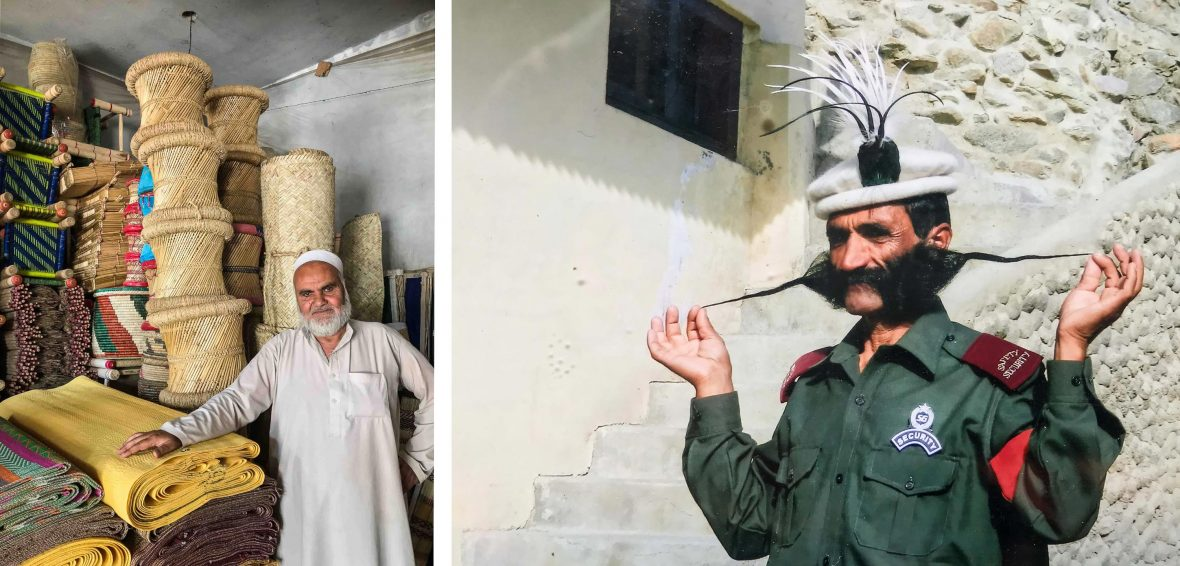 Left: A vendor in a market in the Swat Valley; Right: Saluddin and his meter-long moustache.