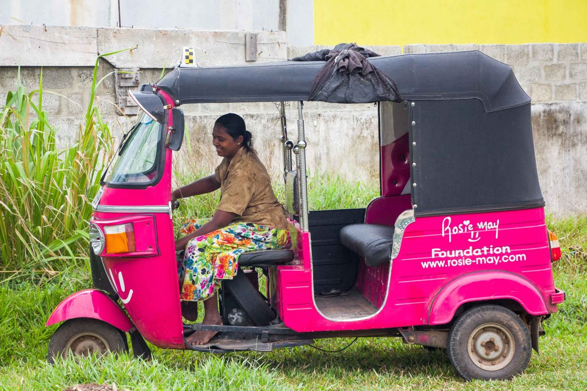 For Jega, this pink tuk-tuk has become her main source of income.