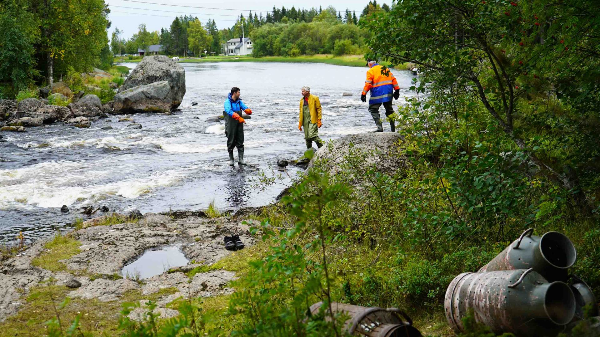 Fishing for lamprey fish in Byske, Swedish Lapland.