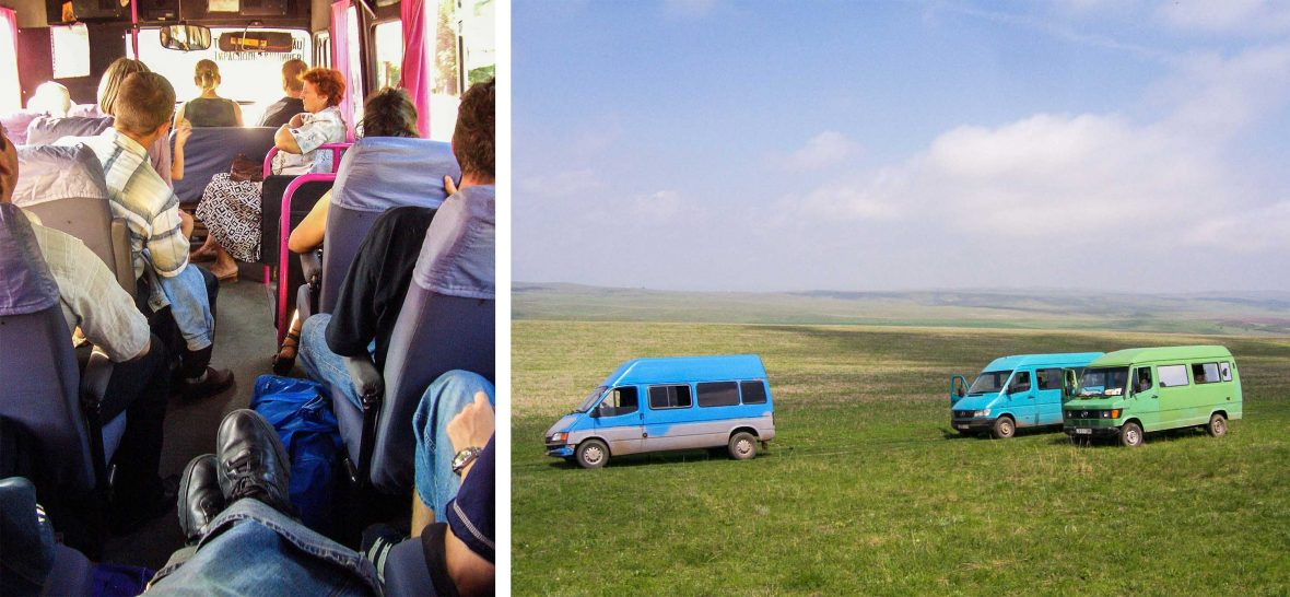 Left: Passengers squeeze into a marshrutka; Right: Marshrutkas line the grassy hill.