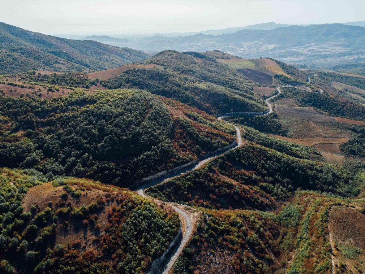 A road winds through the mountains in Armenia.