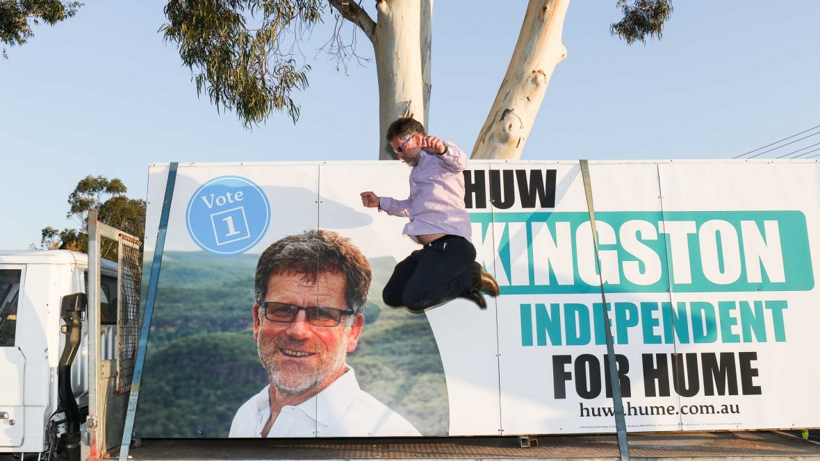 Huw Kingston, jumping for joy during the campaign.