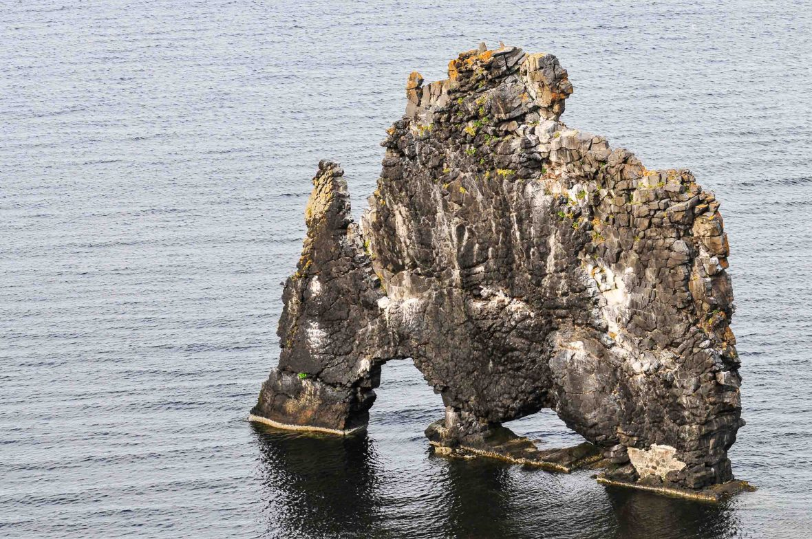 Hvítserkur, a 15-meter-high sea stack on Vatnsnes peninsula in northwest Iceland.