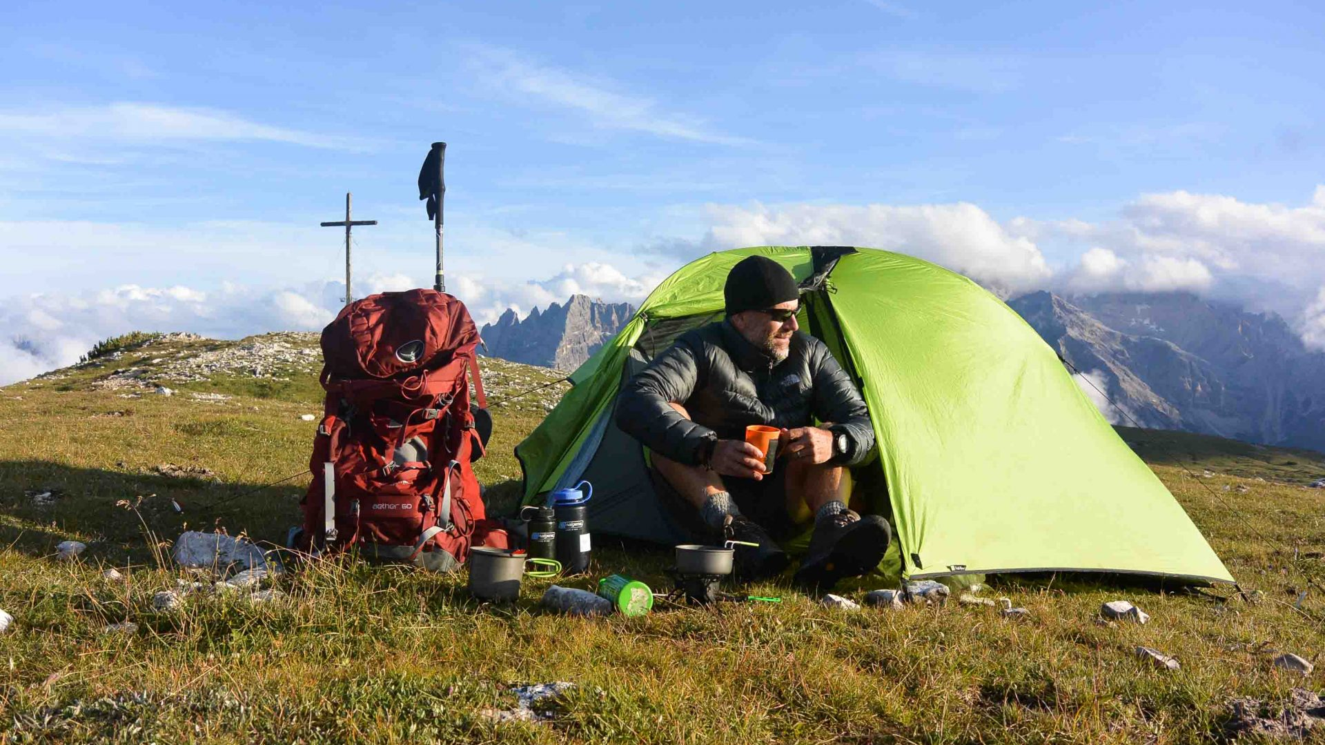 Huw Kingston at his mountain camp in the Dolomites, Italy.