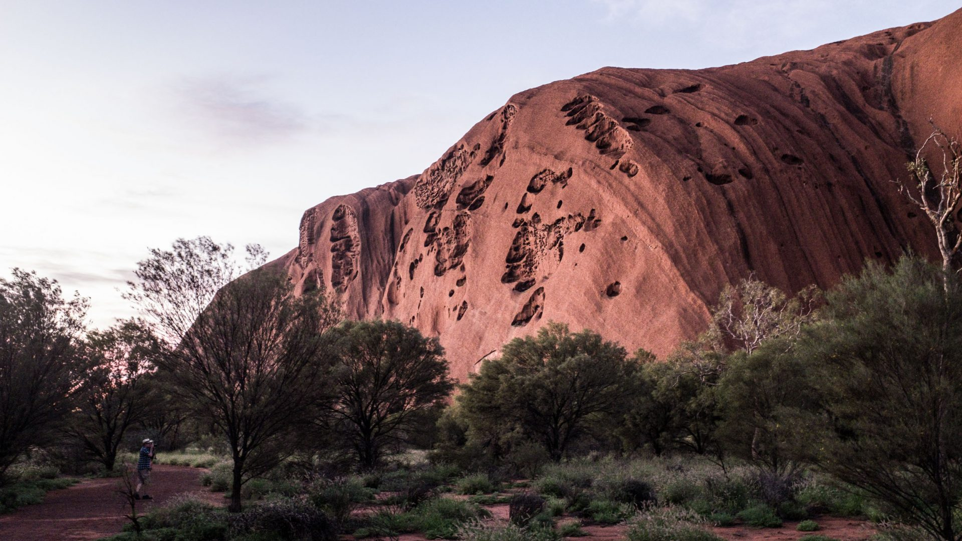 Uluru during the sunrise base walk.