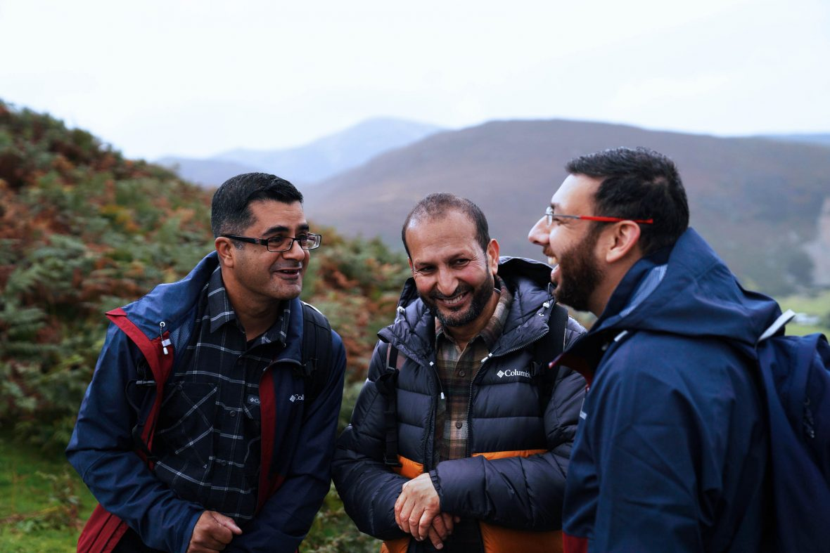 Asiem Ahmad (left), Javed Akhtar (middle) and Kash Butt (right) enjoy a day out in Lake District National Park.