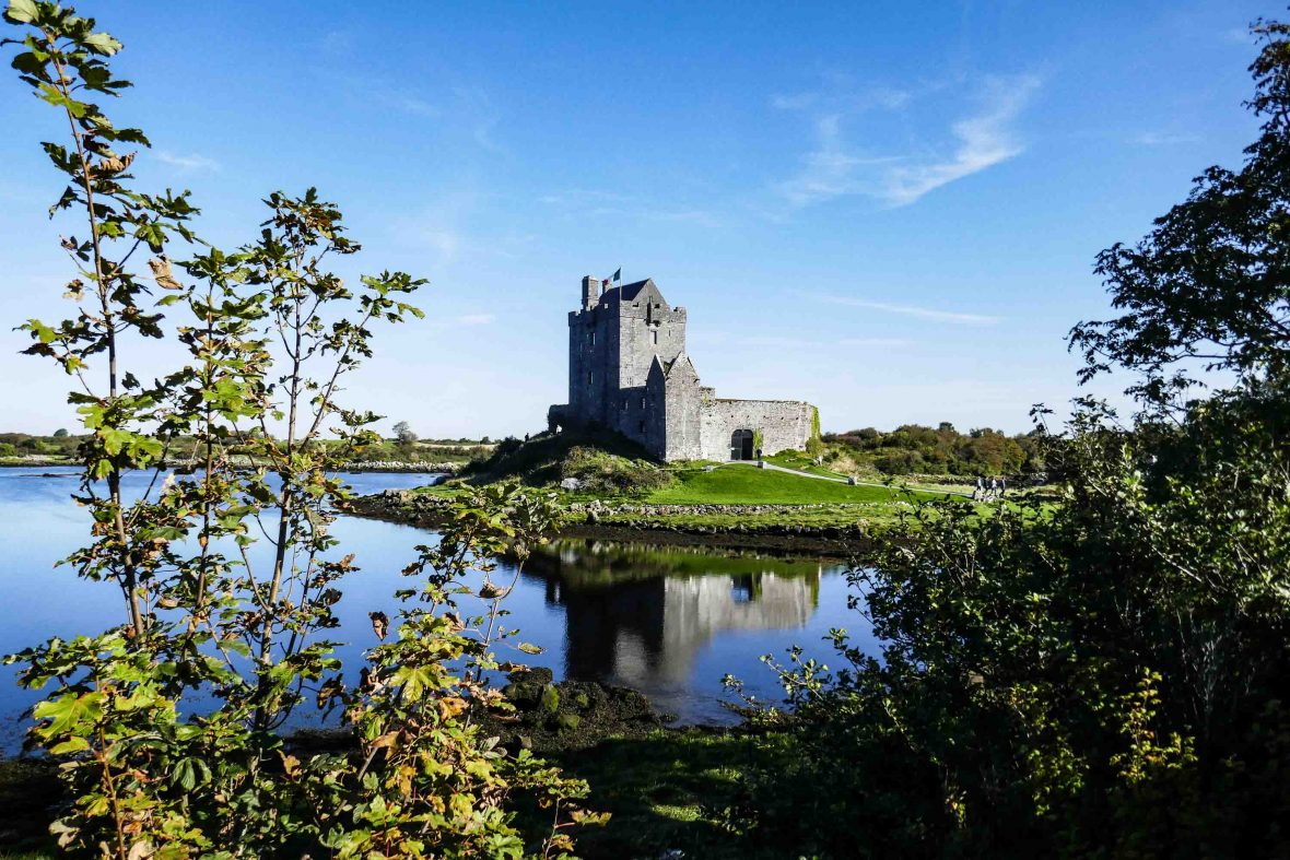 Duncruaire Castle, a 16th-century tower house on Galway Bay, County Galway.