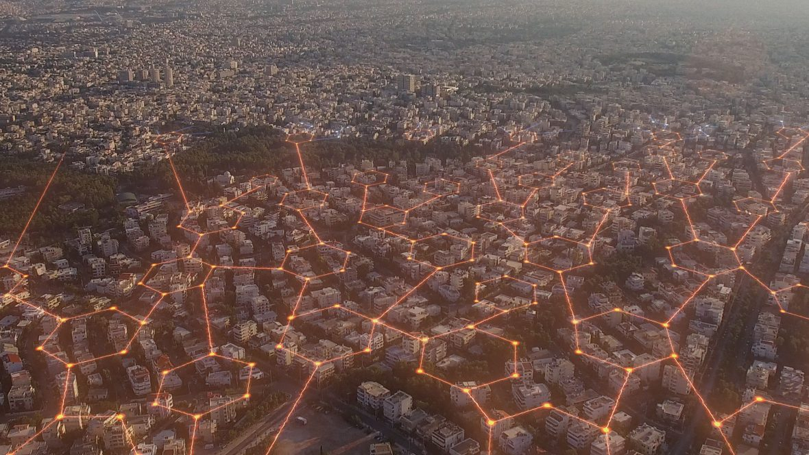 A still from '2040' illustrates the far-reaching effect a network of community solar grids can have.