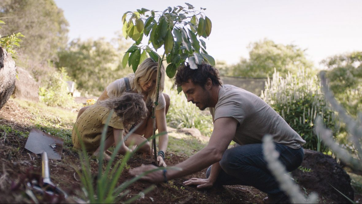 Damon plants a tree with his family while filming '2040'.
