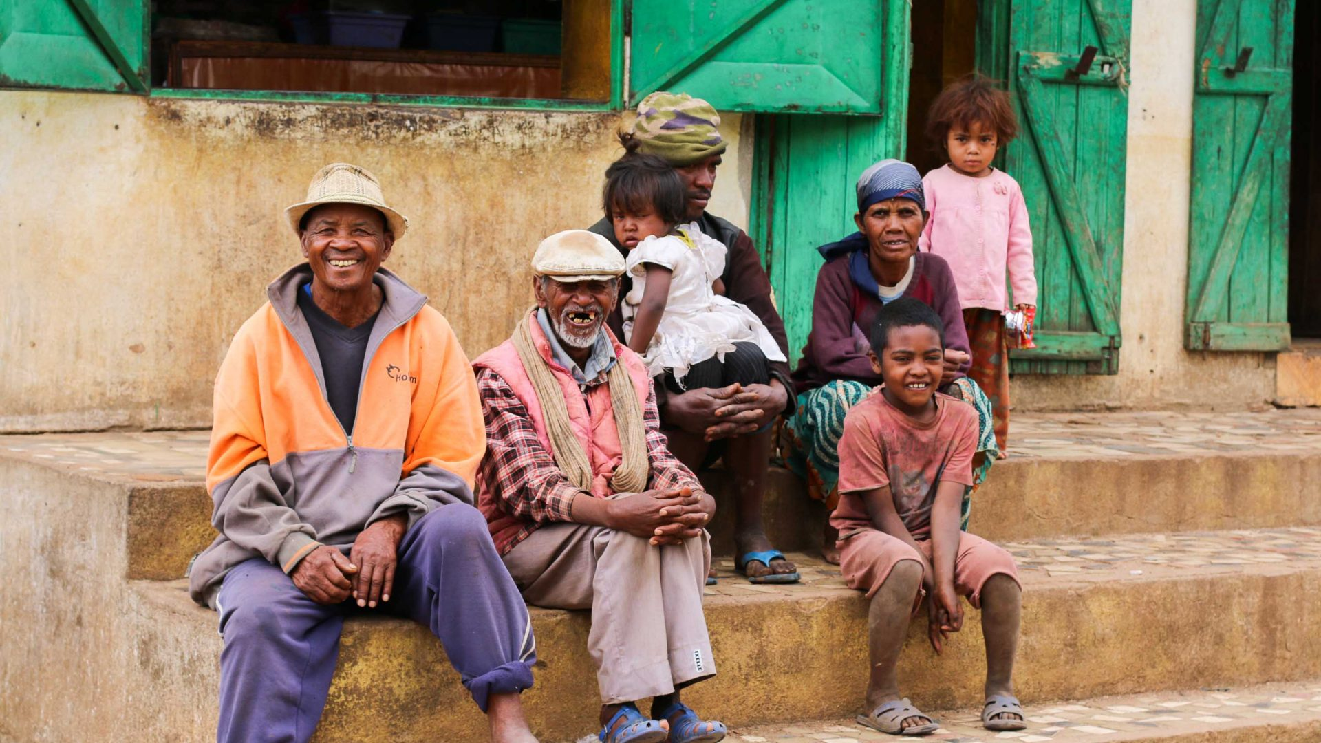 Meeting local people on a roadside stop in Madagascar.
