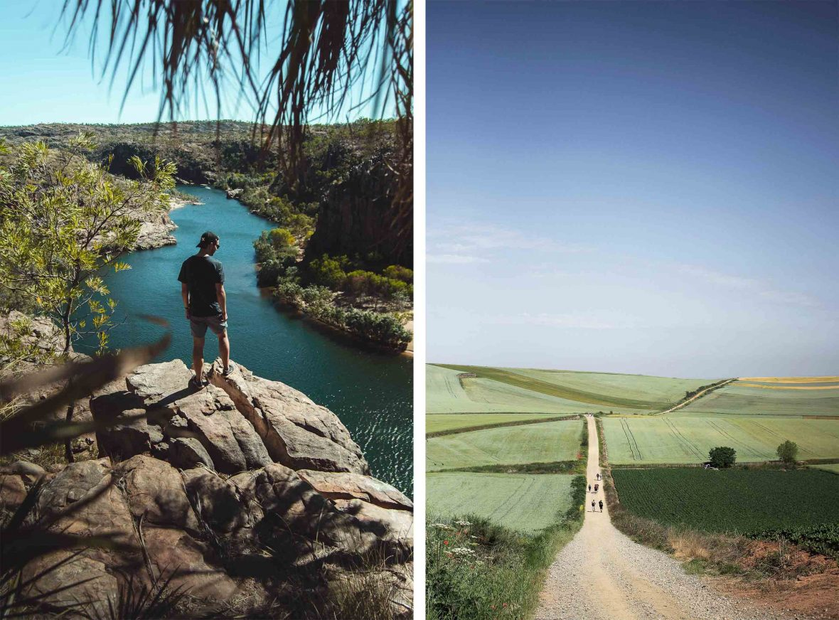 Examples of slow, sustainable travel include canoeing down the Katherine River in Australia (left) or walking the Camino de Santiago in Spain (right).