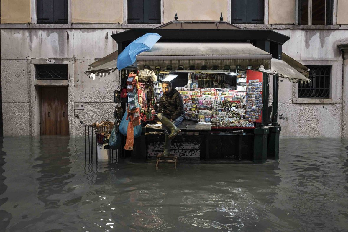A Bengalese kiosk sits surrounded by flood waters 156 centimeters high in Venice.