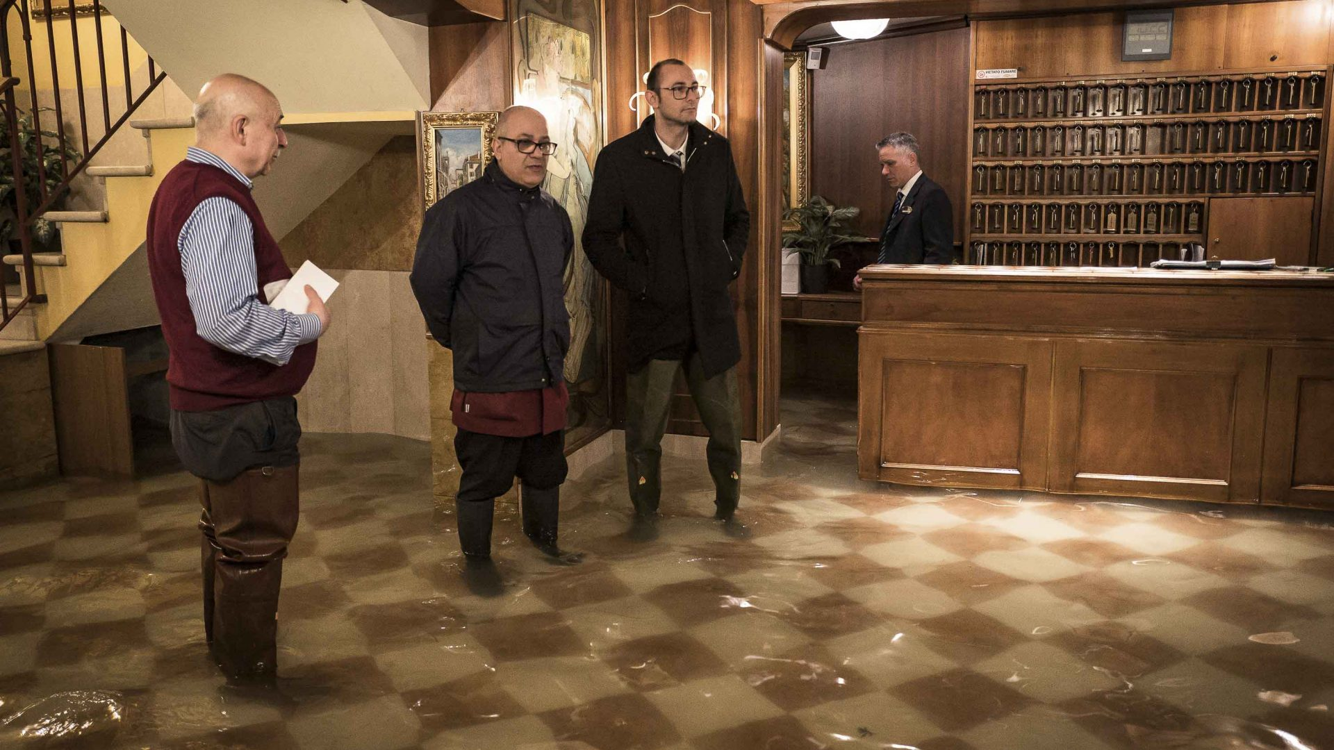 The flooded reception of a hotel in Venice's popular St Mark's district.