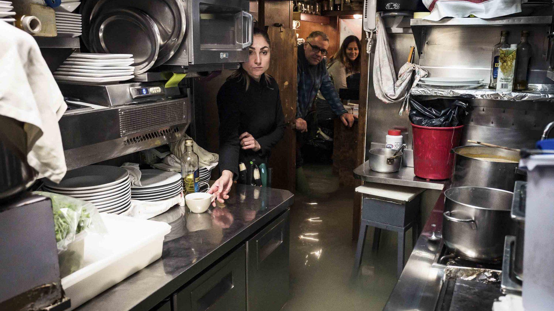 A flooded restaurant kitchen in Venice.