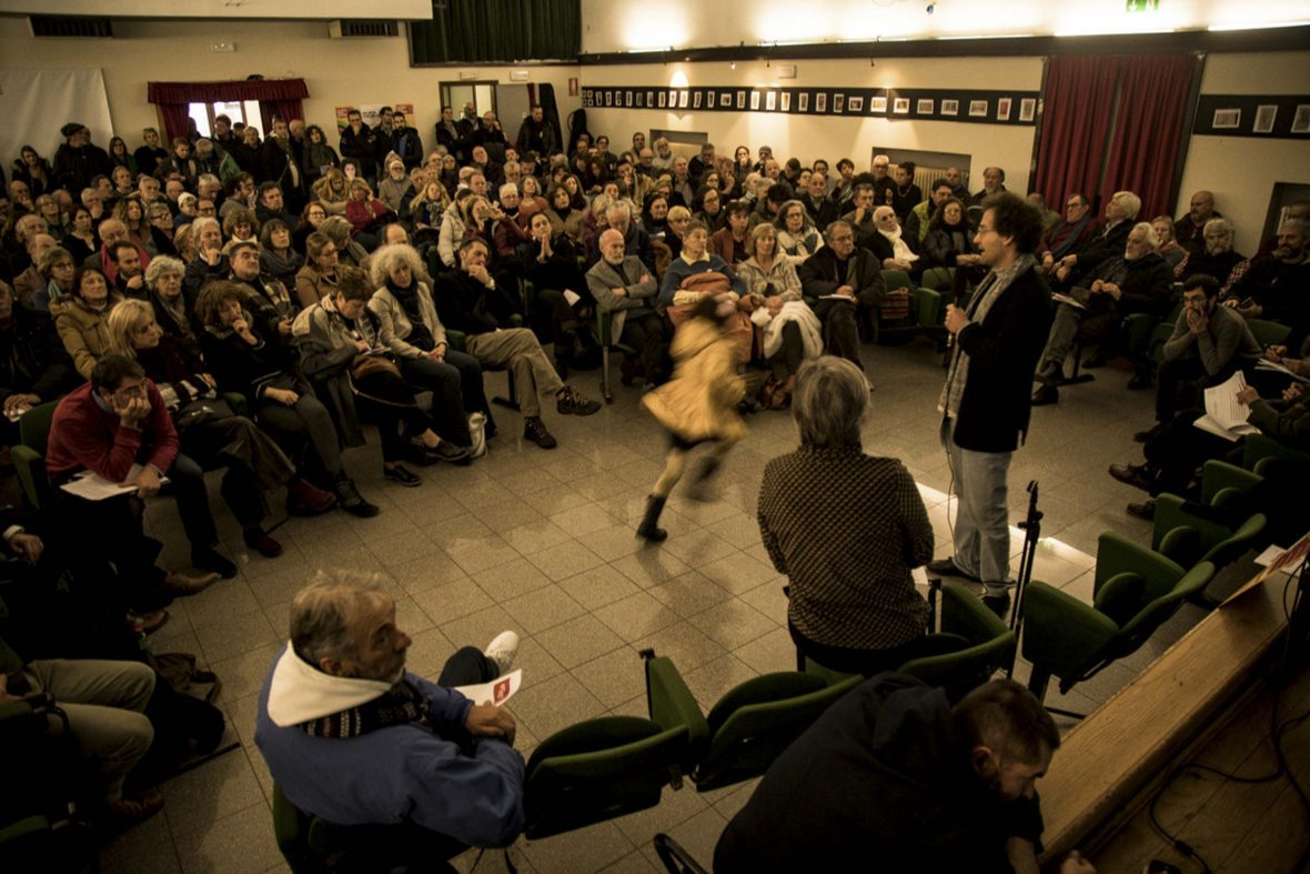 A citizens' assembly in Venice, where people have gathered to discuss alternatives to the commodification of Venice.