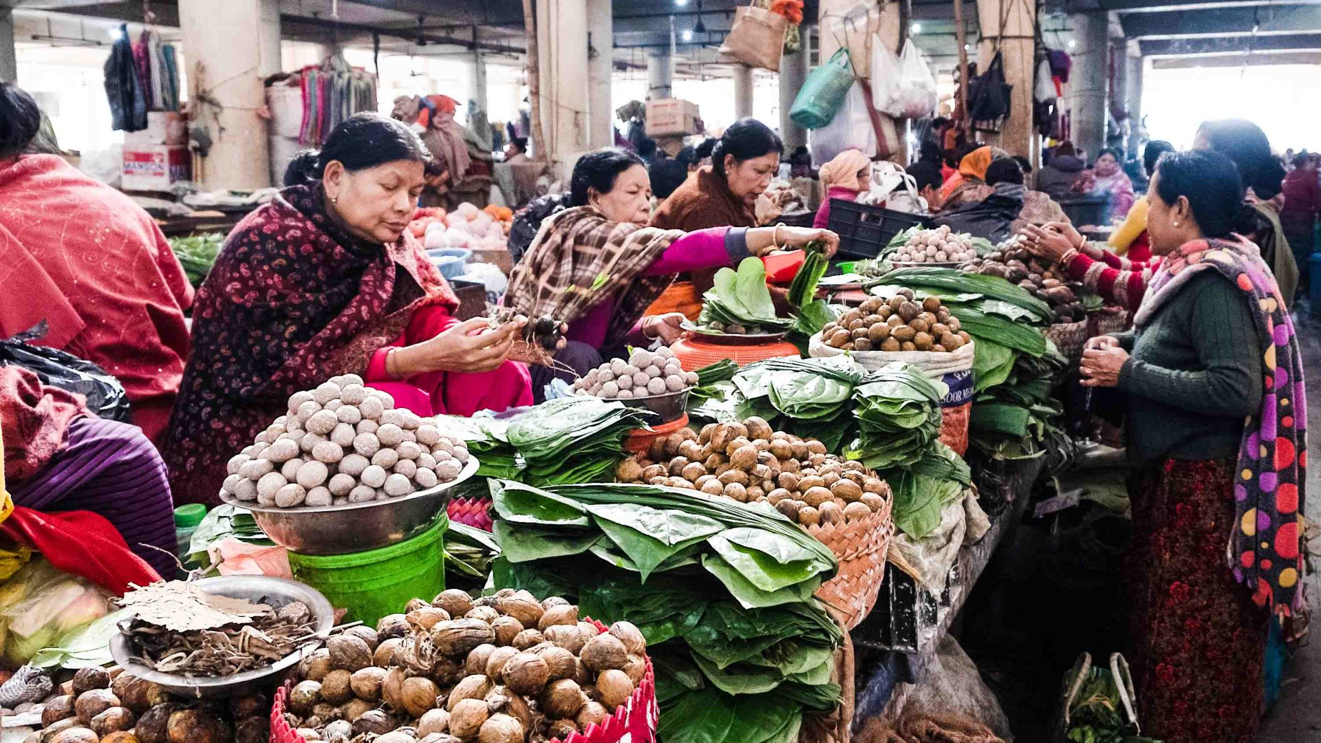 Betel nut vendors at Ima Keithel in Imphal, Manipur.