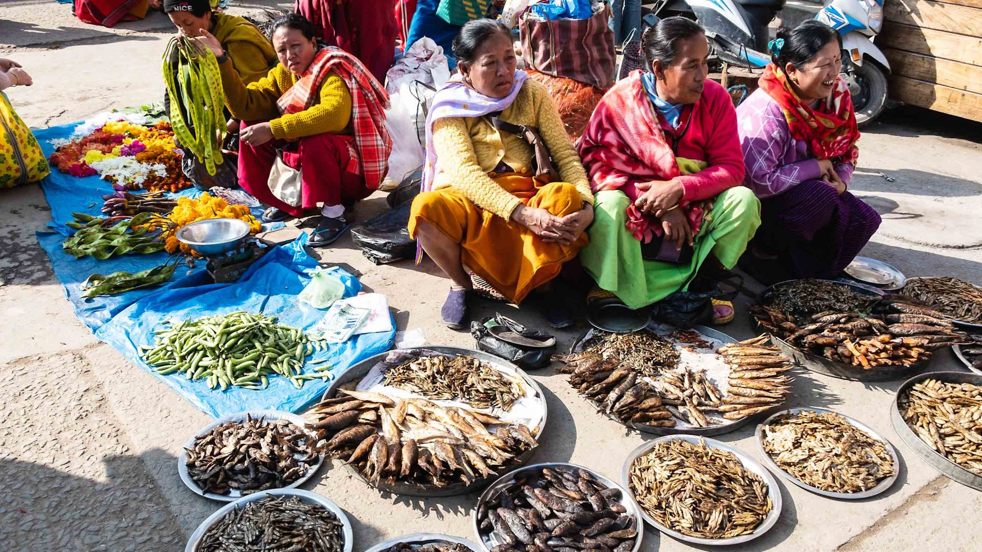 Fish sellers at Ima Keithel market in Manipur's capital city of Imphal.