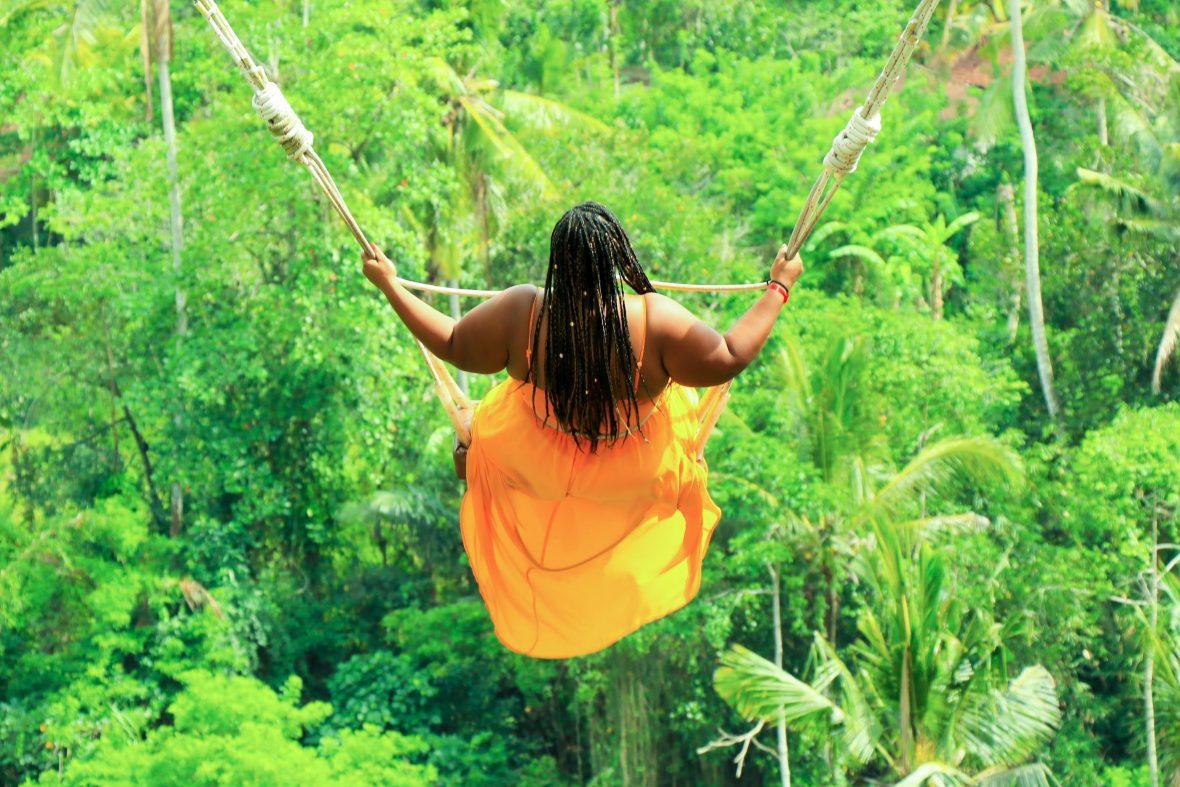 Annette Richmond on a Bali swing in Bali, Indonesia.