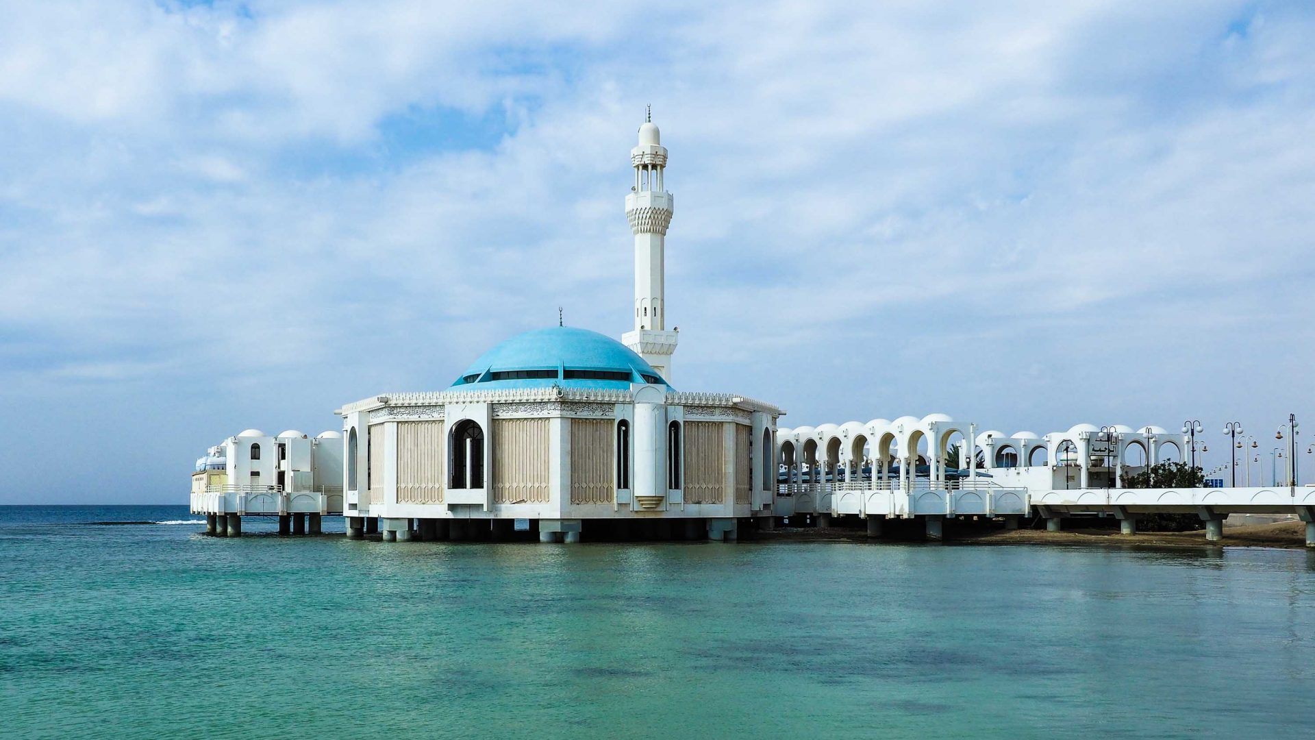 Jeddah's floating mosque, also known as Masjid Al-Rahma or Fatima Al-Zahra Mosque.