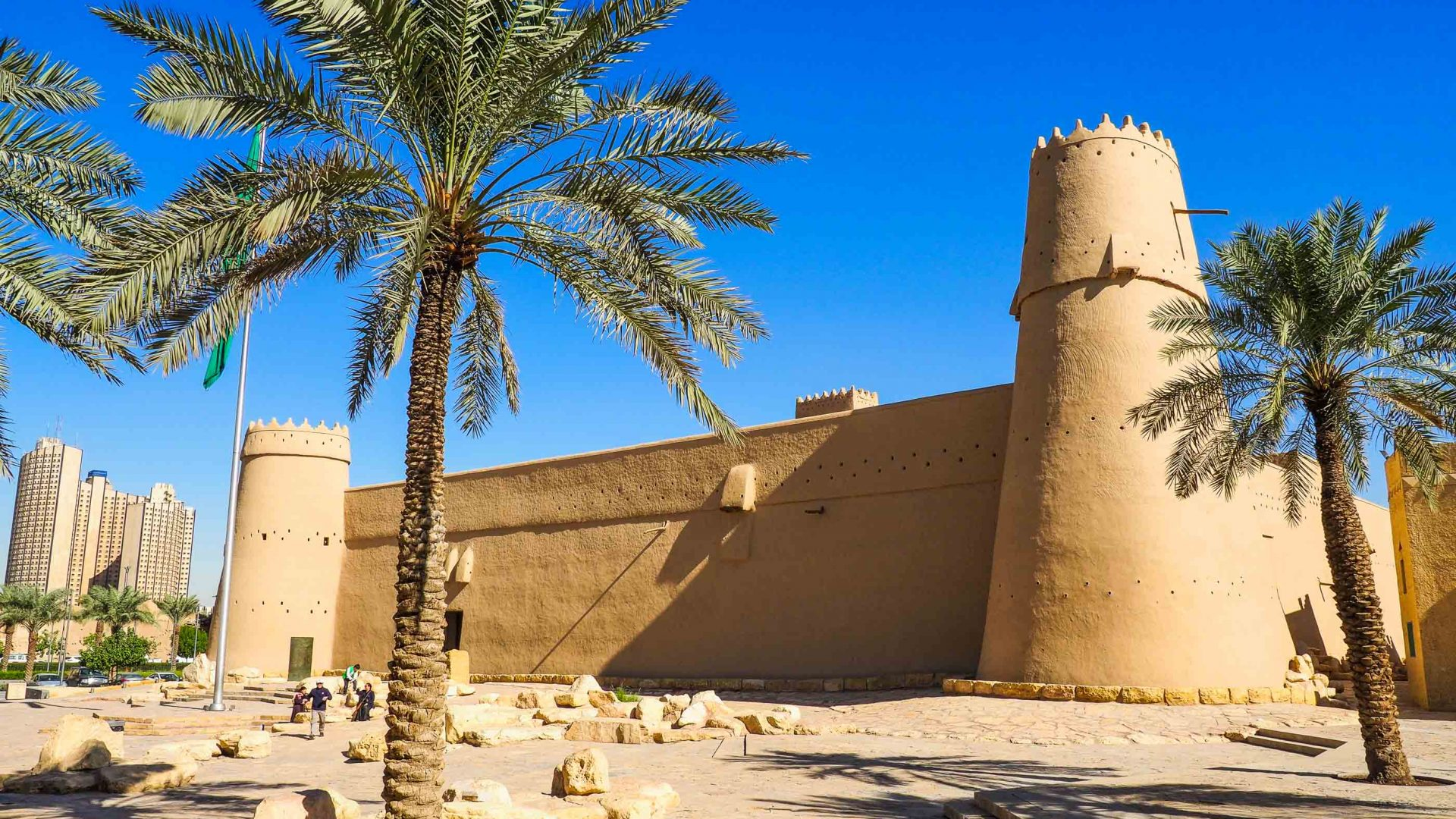 The facade of Masmak Fort in Riyadh, Saudi Arabia.