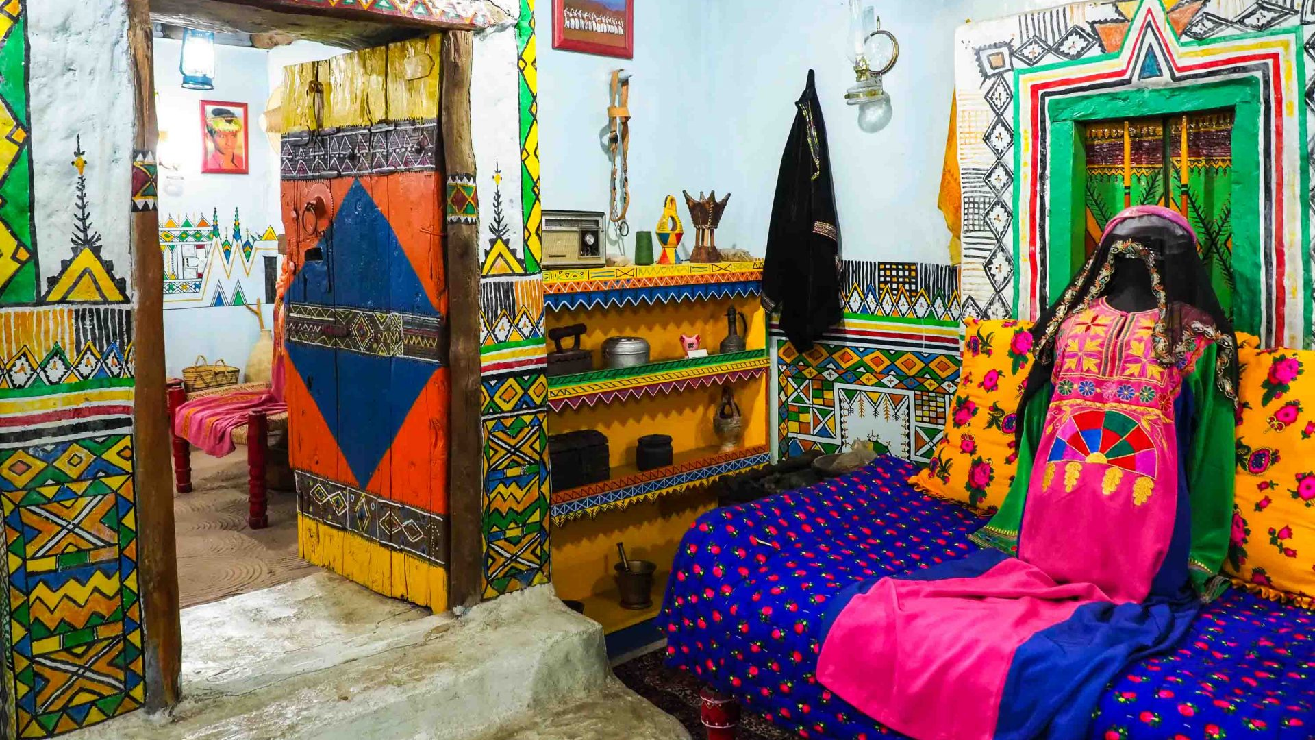 The recreated village homes at Jeddah's Al Tayibat City Museum for International Civilization are beautifully decorated.