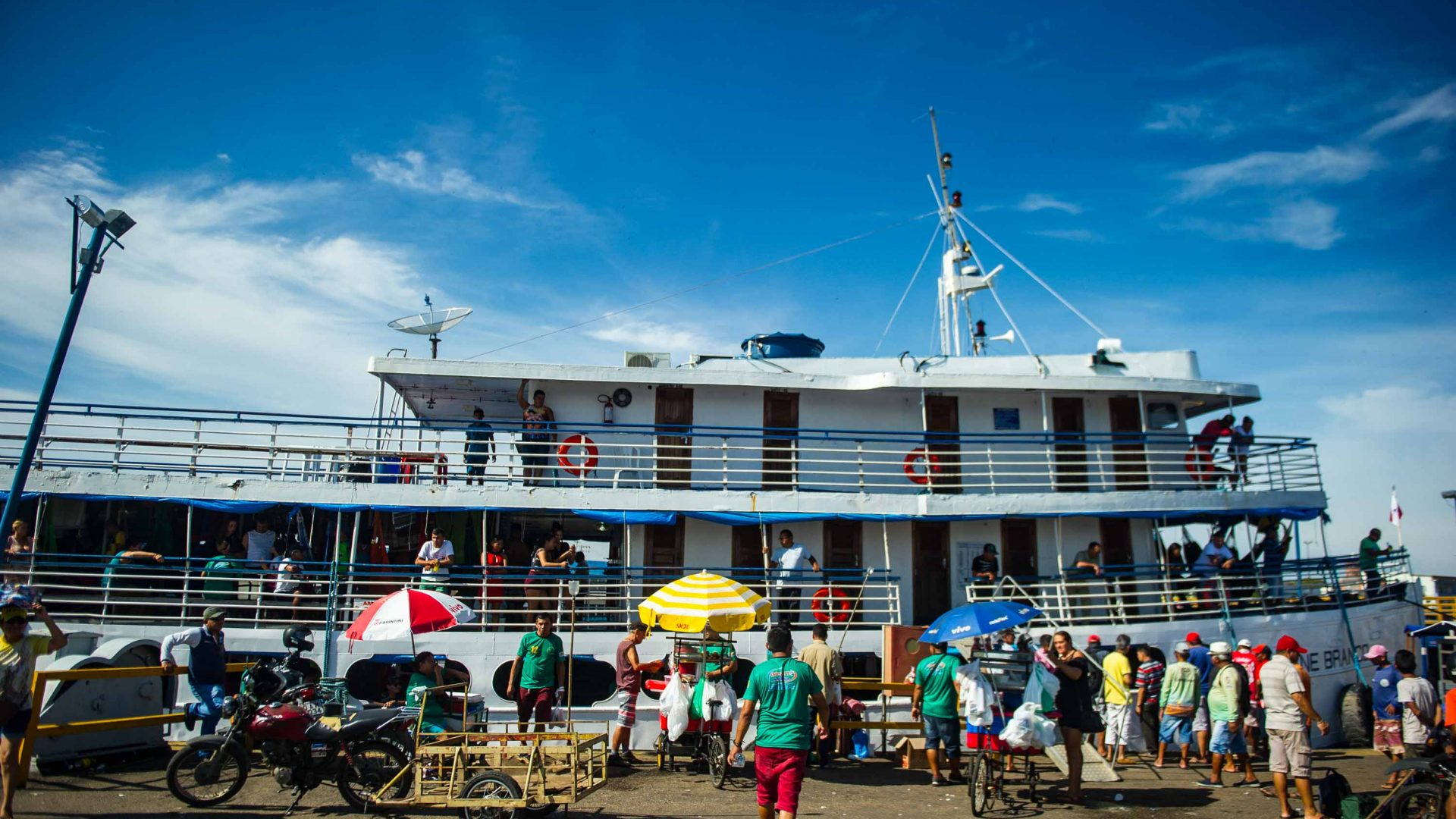 The Cisne Branco riverboat's first port of call is Parantins in the state of Amazonas.