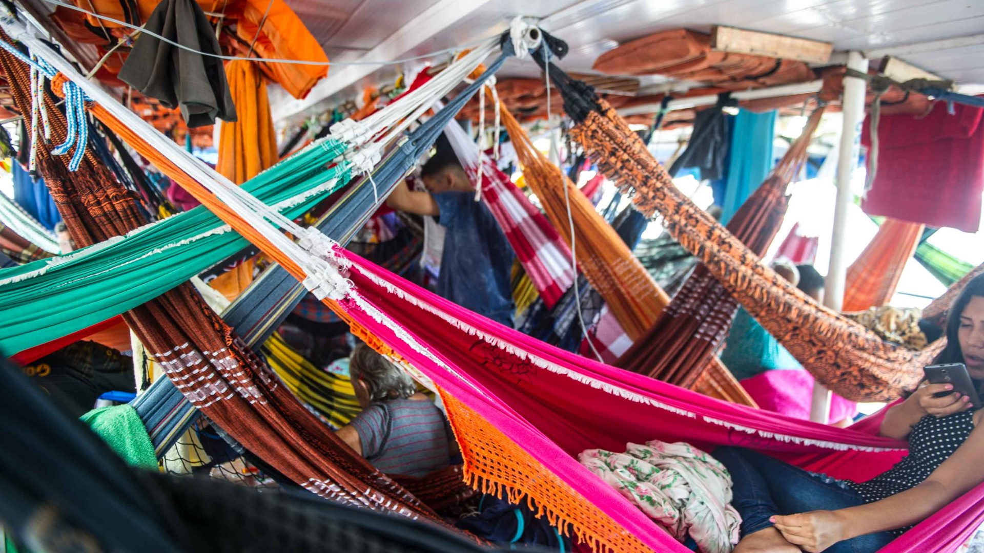 Cisne Branco riverboat hammocks lie side by side, often bumping each other during the voyage.