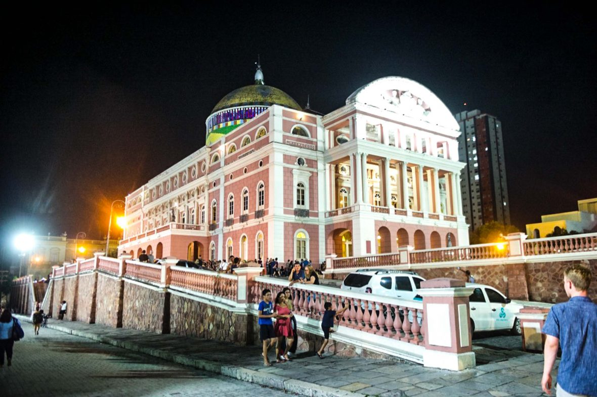 The Teatro Amazonas (Amazon Theater), an opera house in Manaus, in the heart of the Amazon rainforest in Brazil.